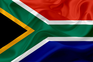 Waving flag of South Africa with fabric texture