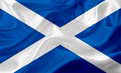 Waving flag of Scotland with fabric texture