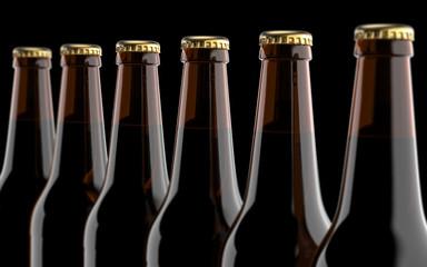 Close up brown beer bottles. Studio 3D render, on black background