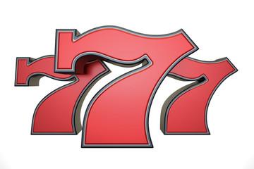 777 jackpot symbol, 3D rendering