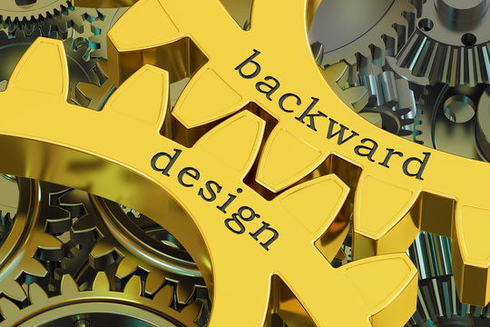backward design concept on the gearwheels, 3D rendering