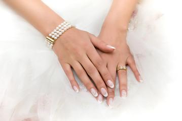 Wedding day. Luxury bracelet on the bride's hand