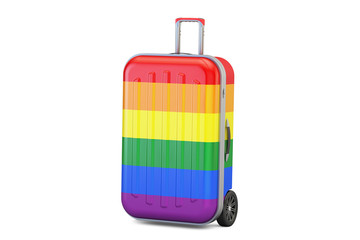 Suitcase with rainbow flag, 3D rendering