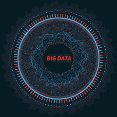 Wall Mural - Big data circular visualization. Futuristic infographic. Information aesthetic design. Visual data complexity. Complex data threads graphic visualization. Social network representation. Abstract graph