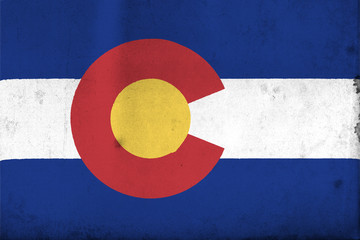 Flag of Colorado with an old, vintage style