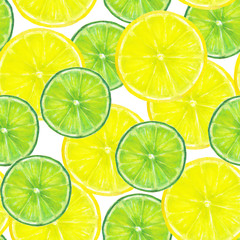 Summer green and yellow background. Lemon and lime slices seamless pattern. Watercolor hand drawn bright color seamless texture with tropical natural organic citrus slices on white background