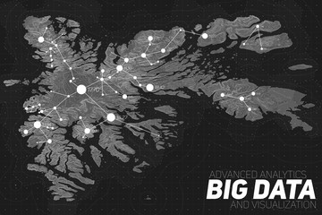 Terrain big data visualization. Futuristic map infographic. Complex topographical data graphic visualization. Abstract data on elevation graph. Grayscale geographical data image.