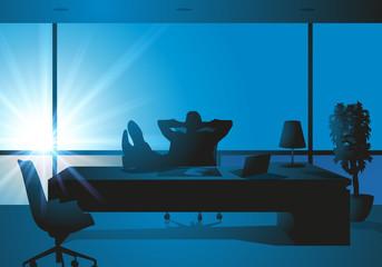 bureau - relax - cool - patron - décontracté - pieds sur le bureau
