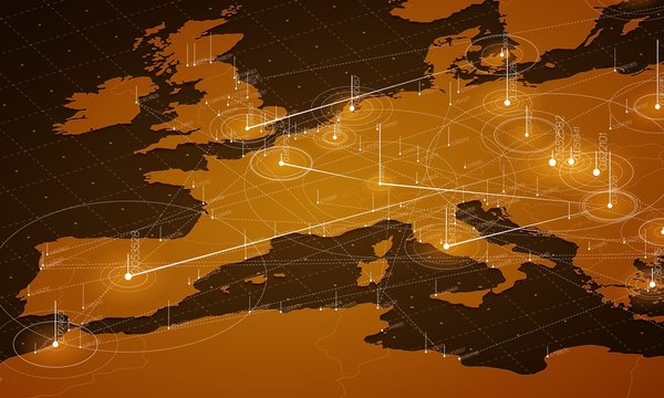 Europe orange map big data visualization. Futuristic map infographic. Information aesthetics. Visual data complexity. Complex europe data graphic visualization. Abstract data on map graph.