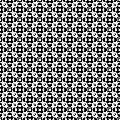 Vector seamless texture, monochrome geometric pattern with simple rounded figures, perforated squares, circles, crosses, triangles. Diagonal grid, repeat tiles. Contrast design for prints, decoration