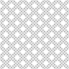 Monochrome seamless pattern, black & white geometric minimalist texture. Simple light symmetric ornament with small circles, dots in diagonal grid. Abstract repeat background. Design for prints, decor