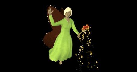 3d-Illustration,  winkende Fee mit Zauberstab auf schwarzem Hintergrund