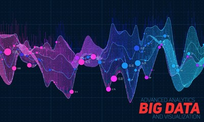 Fotoväggar - Big data colorful visualization. Futuristic infographic. Information aesthetic design. Visual data complexity. Complex data threads graphic visualization. Social network representation. Abstract graph