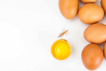 Broken eggs, separation of yolk