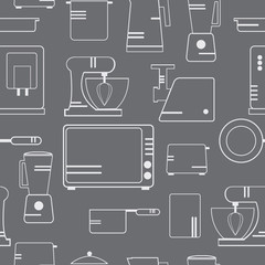 Cookware  and kitchen appliances for cooking. Vector pattern