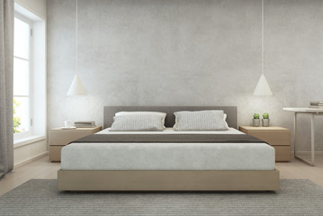 Wall Mural - Bedroom with concrete wall background in modern house, Loft interior design of cozy home - 3D rendering