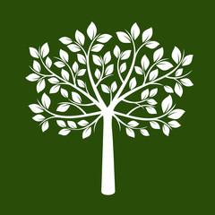 White Tree on green background. Vector Illustration.