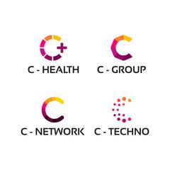 modern C initial Health, C iniital tech Logo template