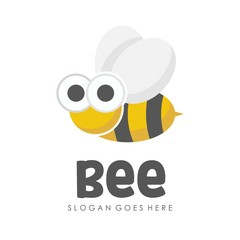 Bee and honey logo full vector