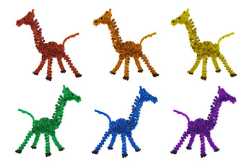 Isolated multicolored beaded giraffes toys side and angle view photo.