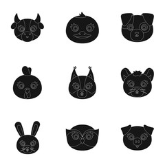Wild and domestic animals. A set of pictures about animals. Animal muzzle icon in set collection on black style vector symbol stock illustration.