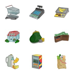 Supermarket, shopping in the store. A selection of pictures on the topic of shopping.Supermarket icon in set collection on cartoon style vector symbol stock illustration.