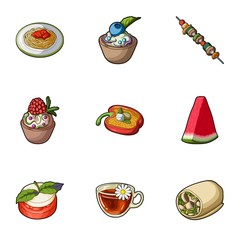 Pictures about vegetarianism. Vegetarian dishes, food vegetarian. Vegetables, fruits, herbs, mushrooms. Vegetarian dishes icon in set collection on cartoon style vector symbol stock illustration.