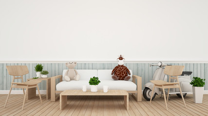 giraffe doll with bear doll and vintage motorcycle in living room - 3D Rendering