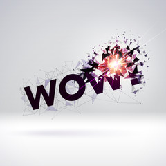 Wow exploding sign with particles for party or commercial sale offering