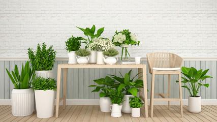 garden in cafe or flower shop - 3d Illustration