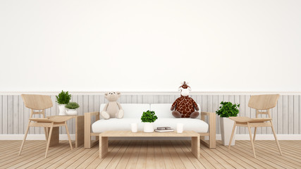 giraffe doll with bear doll in living room or kid room - 3D Rendering