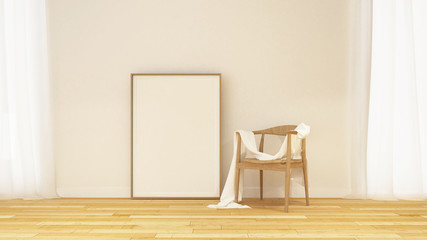 Chair and frame for artwork in gallery - 3D Rendering
