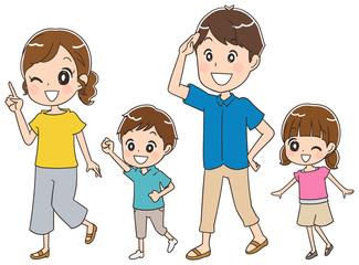 歩いている家族のイラスト