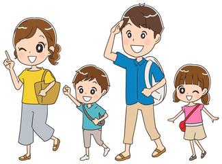 旅行する家族のイラスト
