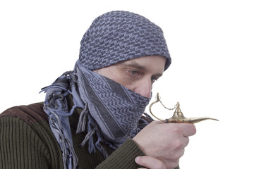 Graying Arab man with lamp