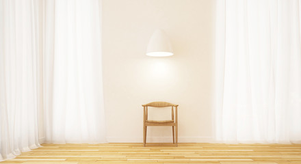 wooden chair in clean room minimal design - 3D Rendering