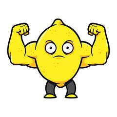 Cartoon Muscular Lemon Flexing Arms Vector Illustration