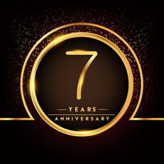 seven years birthday celebration logotype. 7th anniversary logo with confetti and golden ring isolated on black background, vector design for greeting card and invitation card.