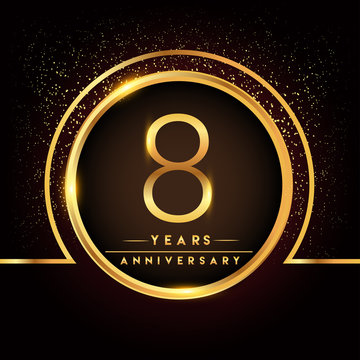 eight years birthday celebration logotype. 8th anniversary logo with confetti and golden ring isolated on black background, vector design for greeting card and invitation card.