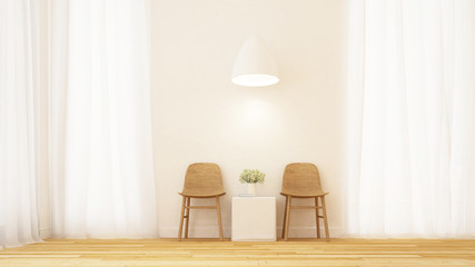 living area in clean room minimal design - 3D Rendering