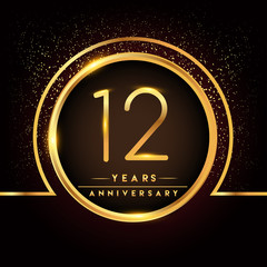 twelve years birthday celebration logotype. 12th anniversary logo with confetti and golden ring isolated on black background, vector design for greeting card and invitation card.