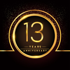 thirteen years birthday celebration logotype. 13th anniversary logo with confetti and golden ring isolated on black background, vector design for greeting card and invitation card.