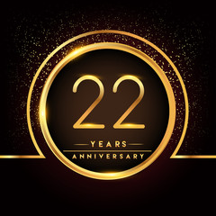 twenty two years birthday celebration logotype. 22nd anniversary logo with confetti and golden ring isolated on black background, vector design for greeting card and invitation card.