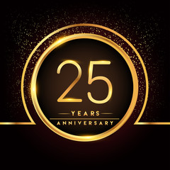 twenty five years birthday celebration logotype. 25th anniversary logo with confetti and golden ring isolated on black background, vector design for greeting card and invitation card.