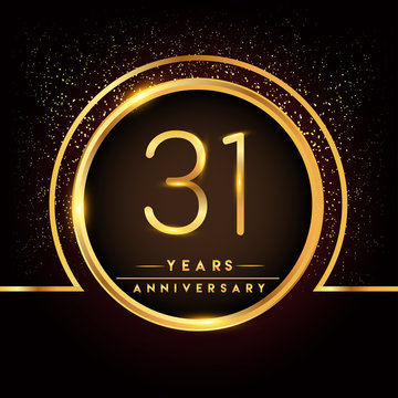 thirty one years birthday celebration logotype. 31st anniversary logo with confetti and golden ring isolated on black background, vector design for greeting card and invitation card.