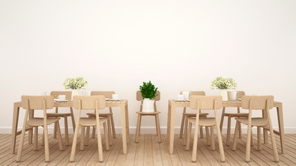 Dining area in restaurant or coffee shop clean design - 3D Rendering