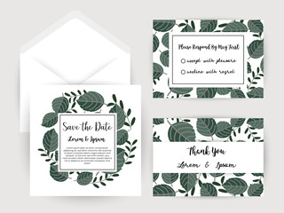 wedding invitation flower and pineapple card Templates,Set of invitations with floral background.