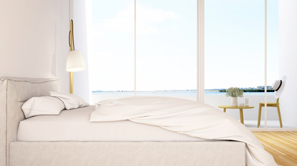 bedroom and balcony view in hotel - 3D Rendering