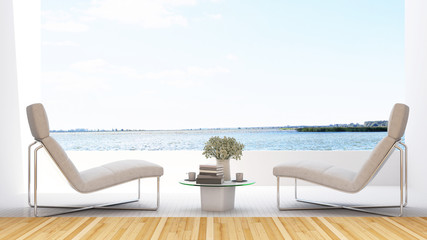 daybed on terrace in hotel - 3D Rendering