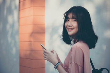 Portrait of vietnam high school teen beautiful girl happy in vintage style